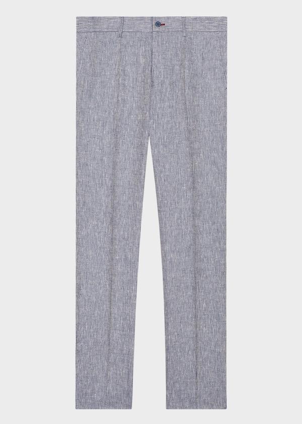 Pantalon coordonnable slim en lin uni bleu - Father and Sons 33317