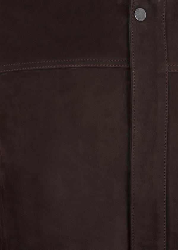Parka en cuir uni marron avec parementure amovible - Father and Sons 37058