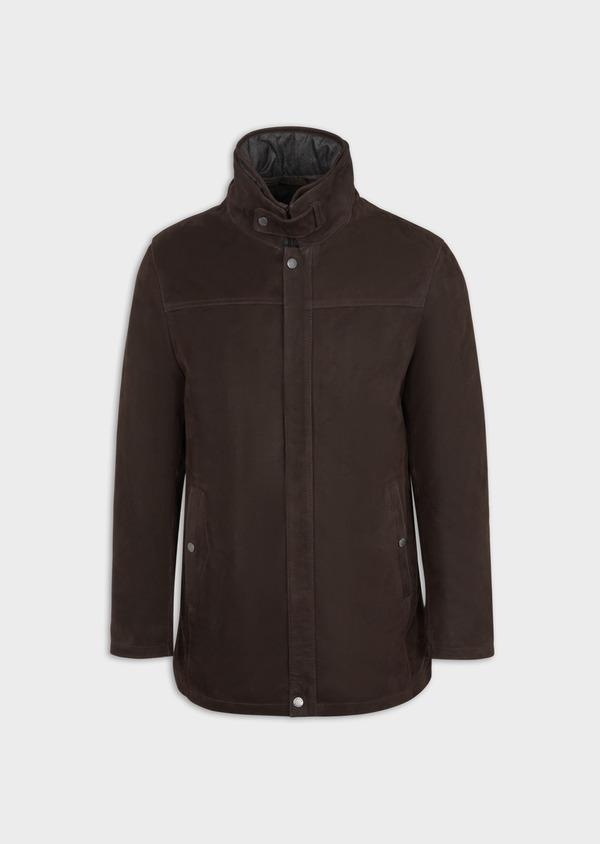 Parka en cuir uni marron avec parementure amovible - Father and Sons 37057
