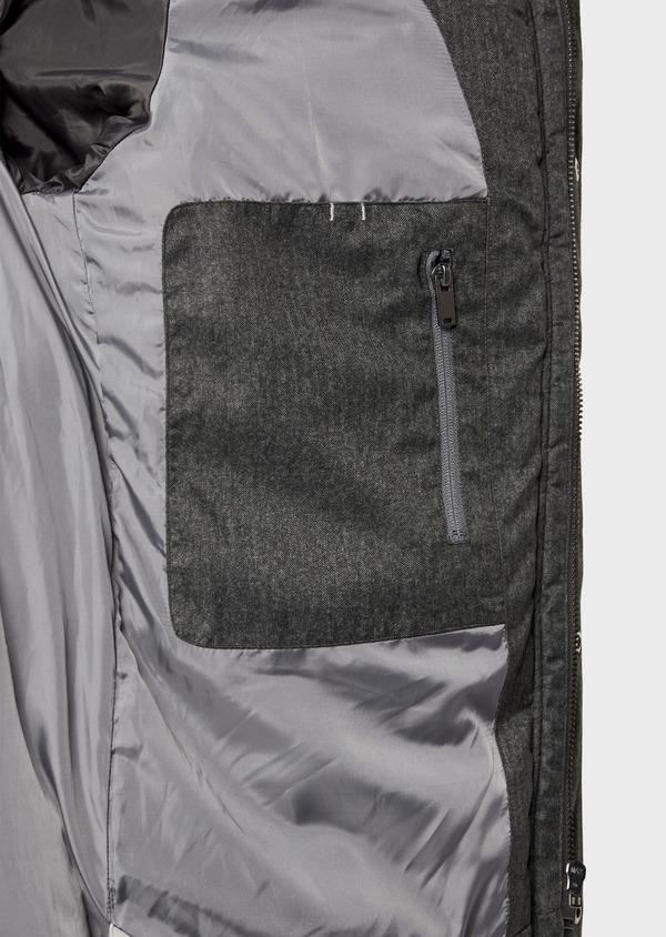 Parka unie grise à col amovible en fausse fourrure - Father and Sons 35945