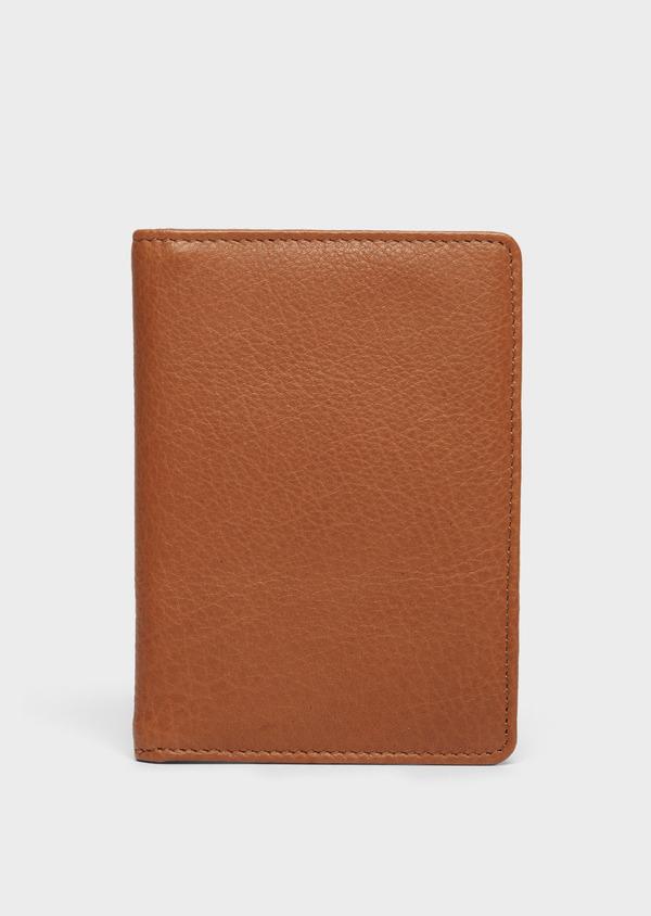 Portefeuille pour passeport en cuir grainé cognac - Father and Sons 37256