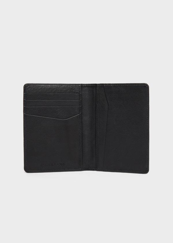 Portefeuille pour passeport en cuir grainé noir - Father and Sons 37237