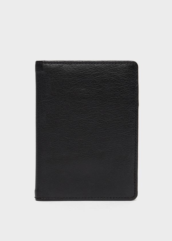 Portefeuille pour passeport en cuir grainé noir - Father and Sons 37236