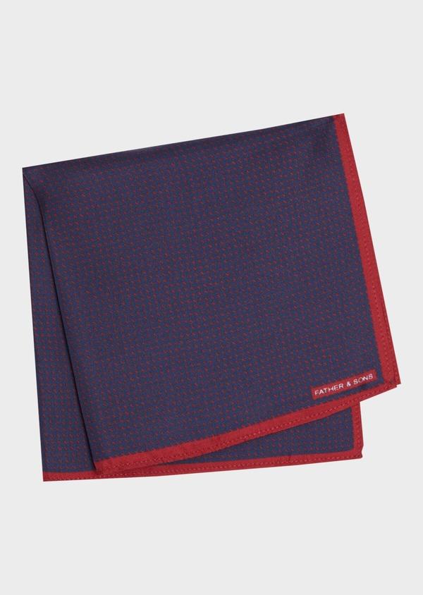 Pochette en soie bleu et bordeaux à motifs géométriques - Father and Sons 36151