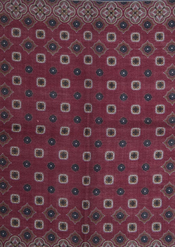 Pochette en laine bordeaux à motif fantaisie - Father and Sons 36148