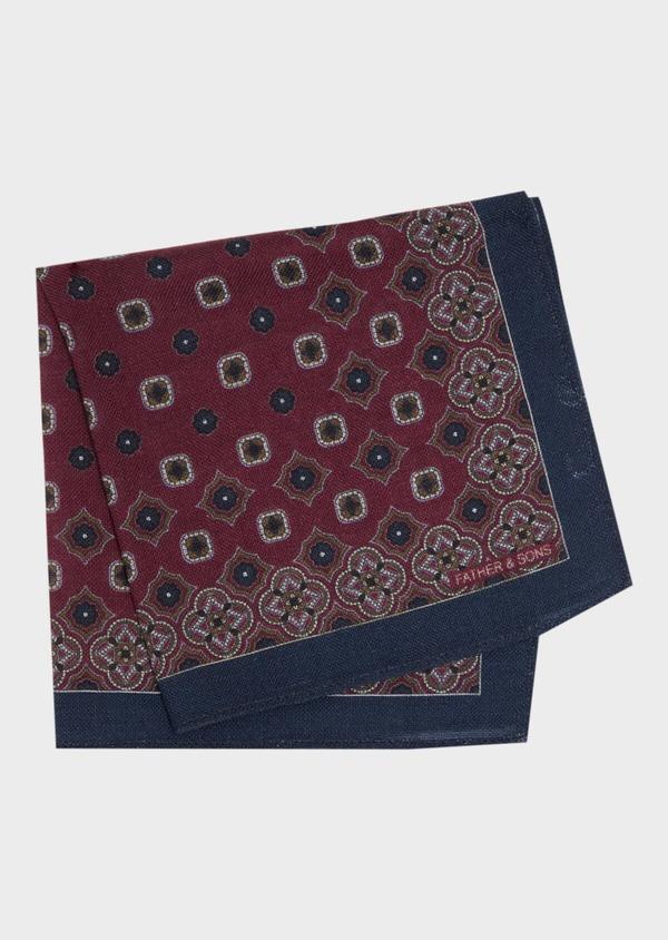 Pochette en laine bordeaux à motif fantaisie - Father and Sons 36147