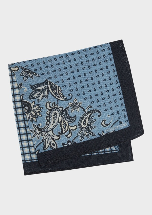 Pochette en laine bleu chambray à motif fantaisie - Father and Sons 36149