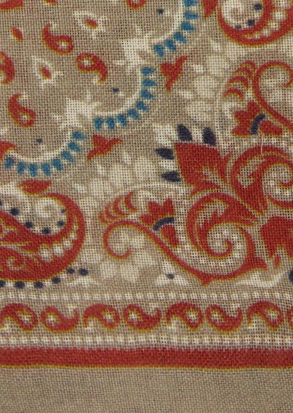 Pochette en laine beige foncé à motif fantaisie - Father and Sons 39497