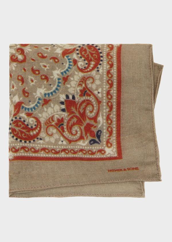 Pochette en laine beige foncé à motif fantaisie - Father and Sons 39496
