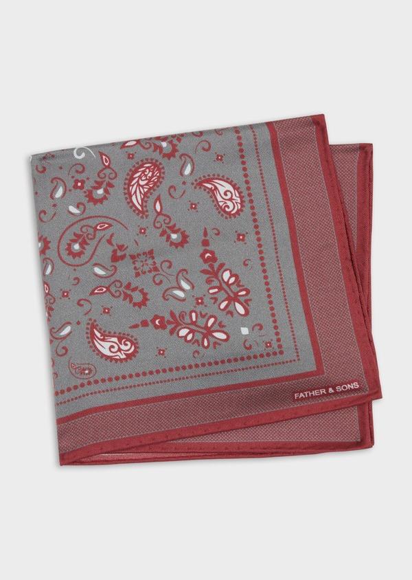 Pochette en soie grise à motif cachemire bordeaux et blanc - Father and Sons 38287