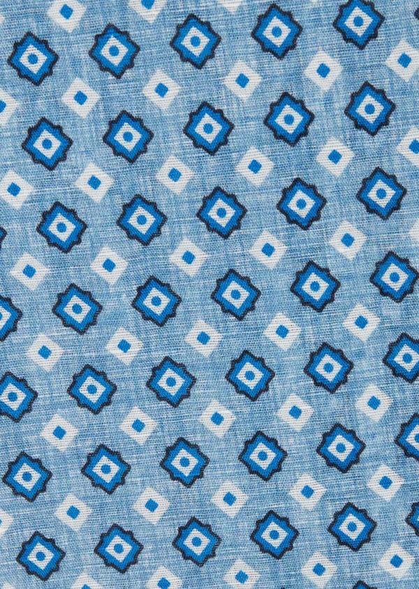 Pochette en lin à motif fantaisie bleu chambray - Father and Sons 38290