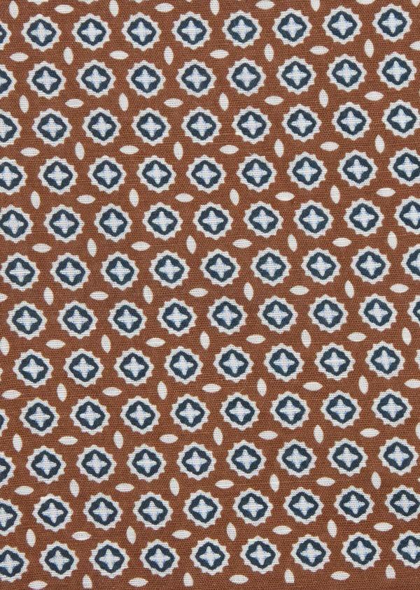 Pochette en lin marron à motif fantaisie blanc et bleu - Father and Sons 38296