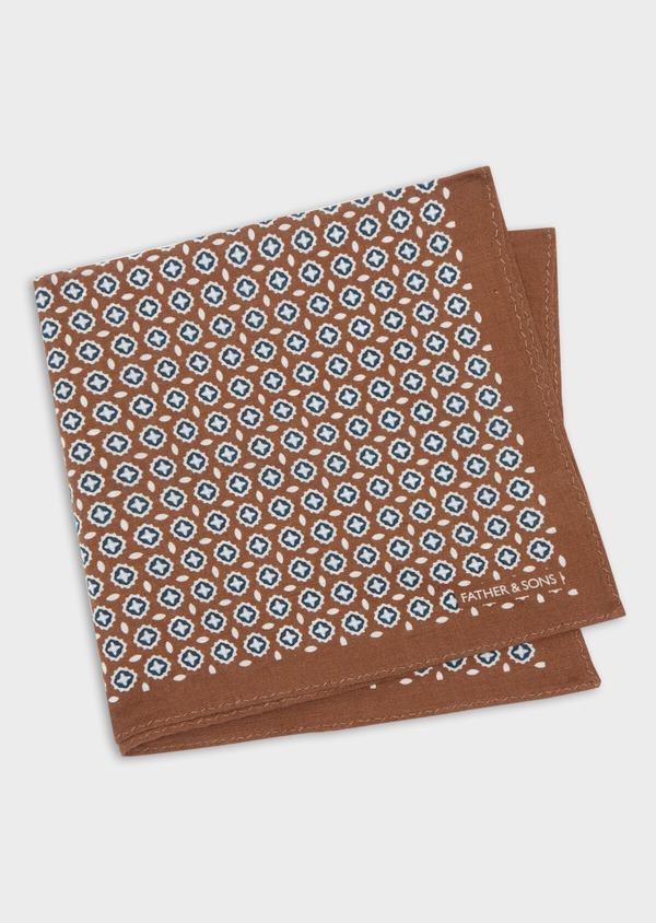 Pochette en lin marron à motif fantaisie blanc et bleu - Father and Sons 38295