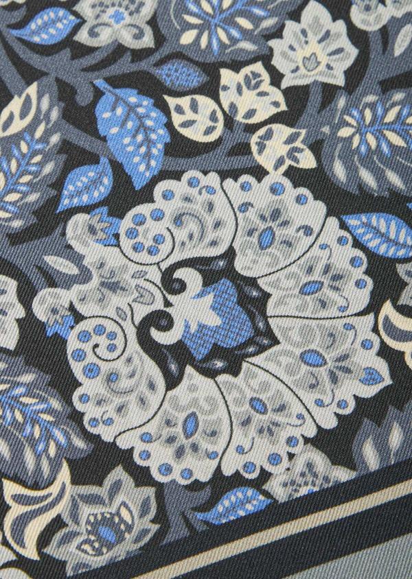 Pochette en soie gris foncé à motif fleuri gris et bleu - Father and Sons 41353