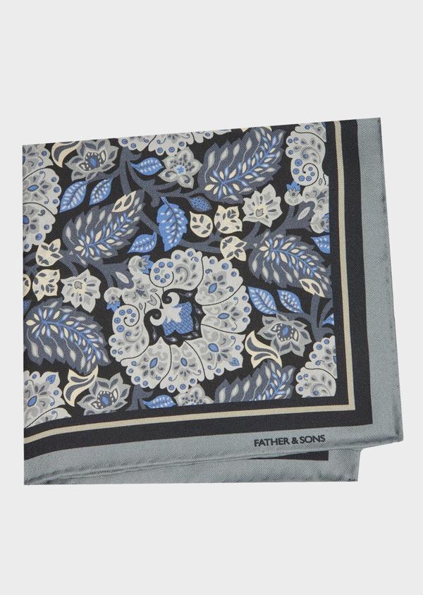 Pochette en soie gris foncé à motif fleuri gris et bleu - Father and Sons 41352