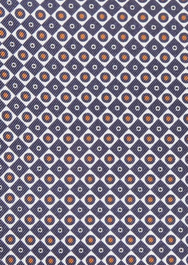 Pochette en soie bleue à motifs géométriques orange et blanc - Father and Sons 38284