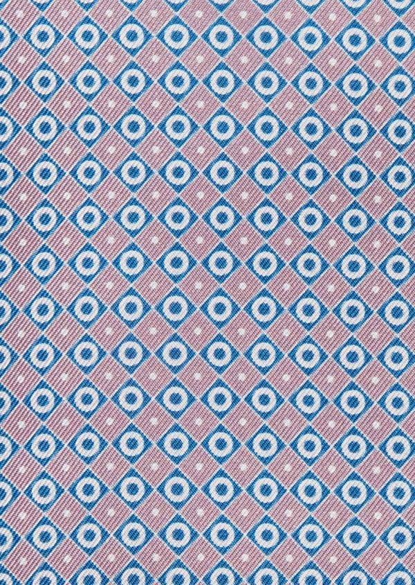 Pochette en soie à motifs géométriques bleu et rose - Father and Sons 38282
