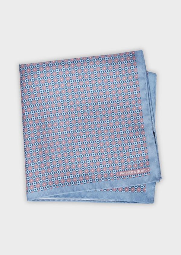 Pochette en soie à motifs géométriques bleu et rose - Father and Sons 38281