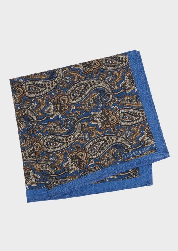 Pochette en laine bleue à motifs cachemire - Father and Sons 36153