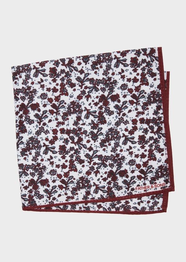 Pochette en coton blanc à motif fleuri bordeaux et gris - Father and Sons 38277