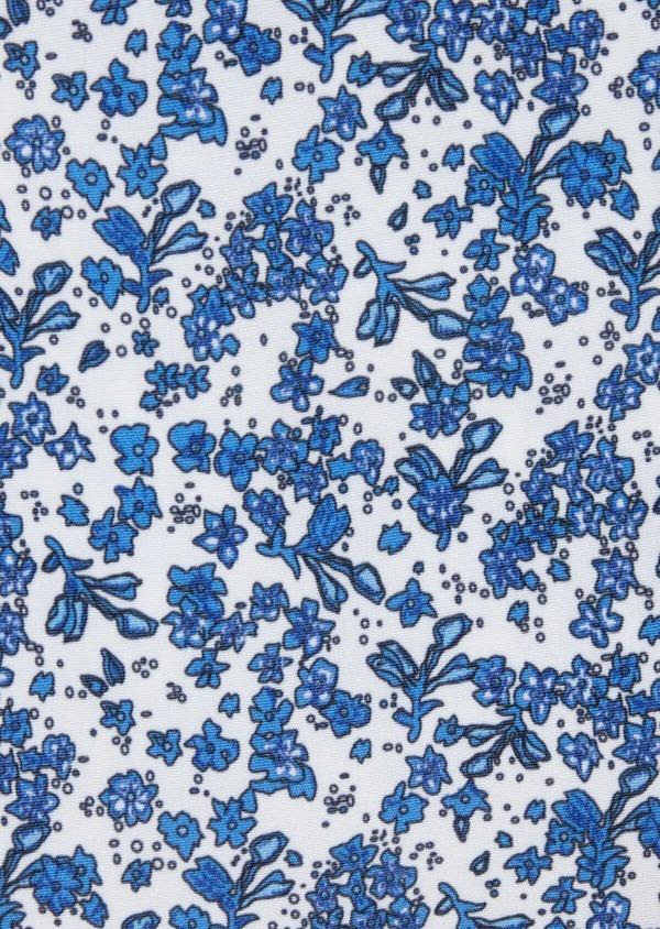 Pochette en coton blanc à motif fleuri bleu chambray - Father and Sons 38276