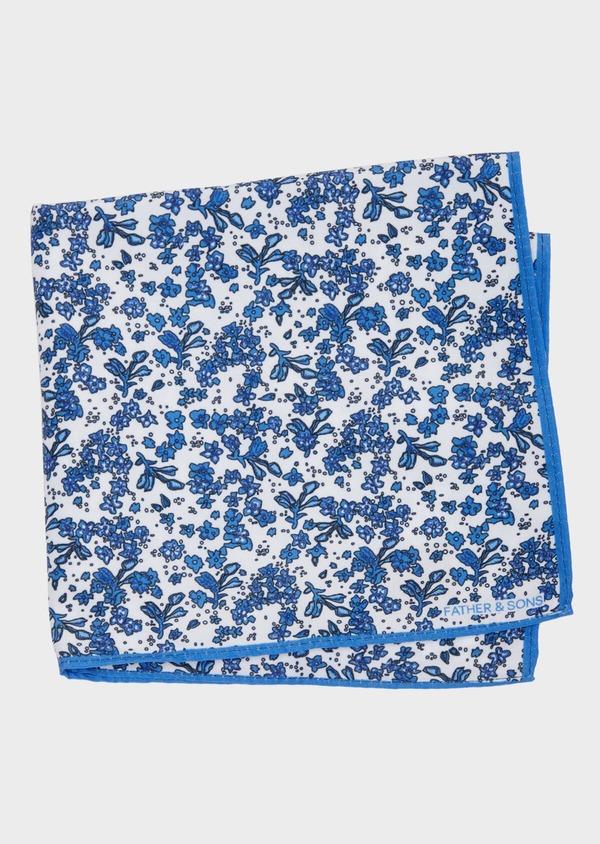 Pochette en coton blanc à motif fleuri bleu chambray - Father and Sons 38275