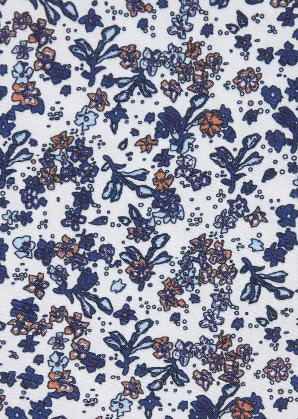 Pochette en coton blanc à motif fleuri bleu indigo et orange - Father and Sons 38266