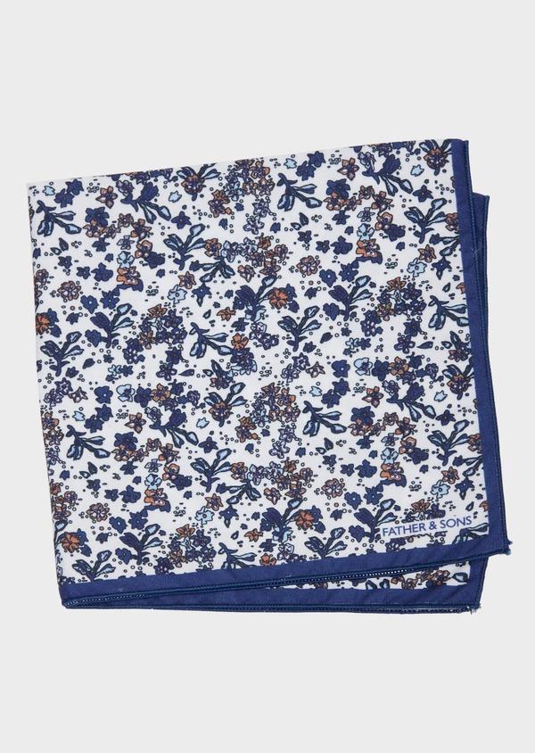 Pochette en coton blanc à motif fleuri bleu indigo et orange - Father and Sons 38265