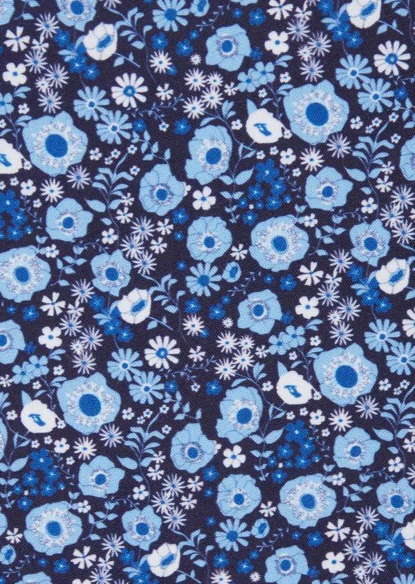 Pochette en coton bleu marine à motif fleuri bleu et blanc - Father and Sons 38274