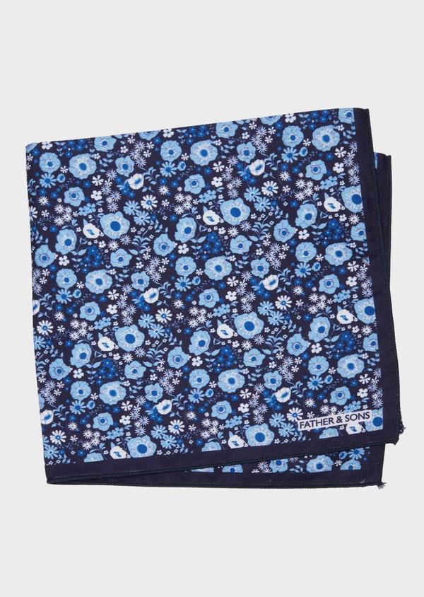 Pochette en coton bleu marine à motif fleuri bleu et blanc - Father and Sons 38273