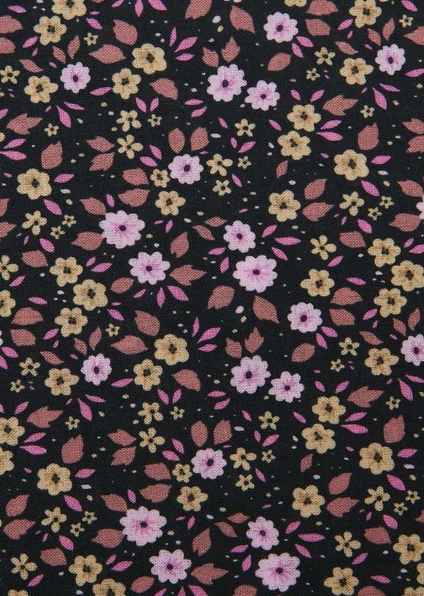 Pochette en coton à motif fleuri noir et rose - Father and Sons 27402