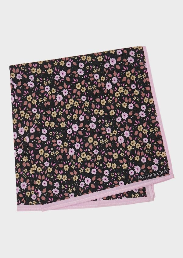 Pochette en coton à motif fleuri noir et rose - Father and Sons 27401