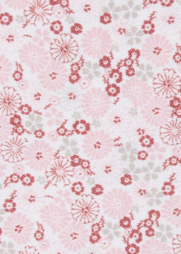 Pochette en coton blanc à motif fleuri rose pâle - Father and Sons 38262