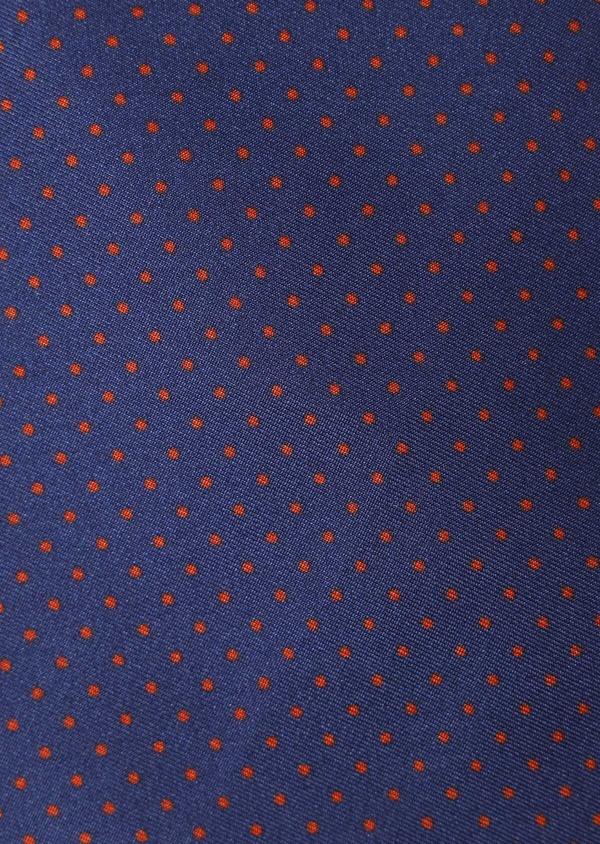Pochette en soie bleu marine à pois orange - Father and Sons 33364