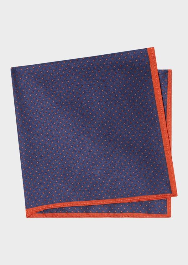 Pochette en soie bleu marine à pois orange - Father and Sons 33363