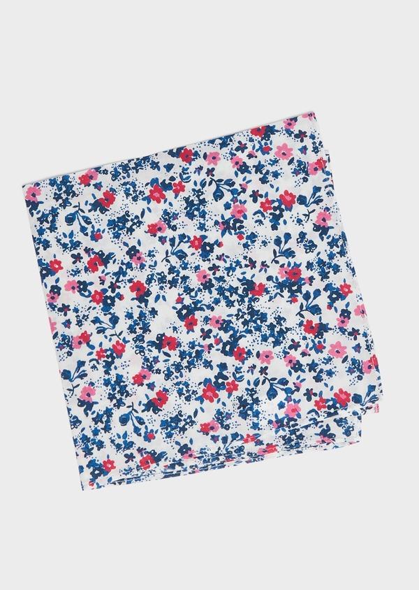 Pochette en coton blanc à motif fleuri bleu foncé et rose - Father and Sons 33351