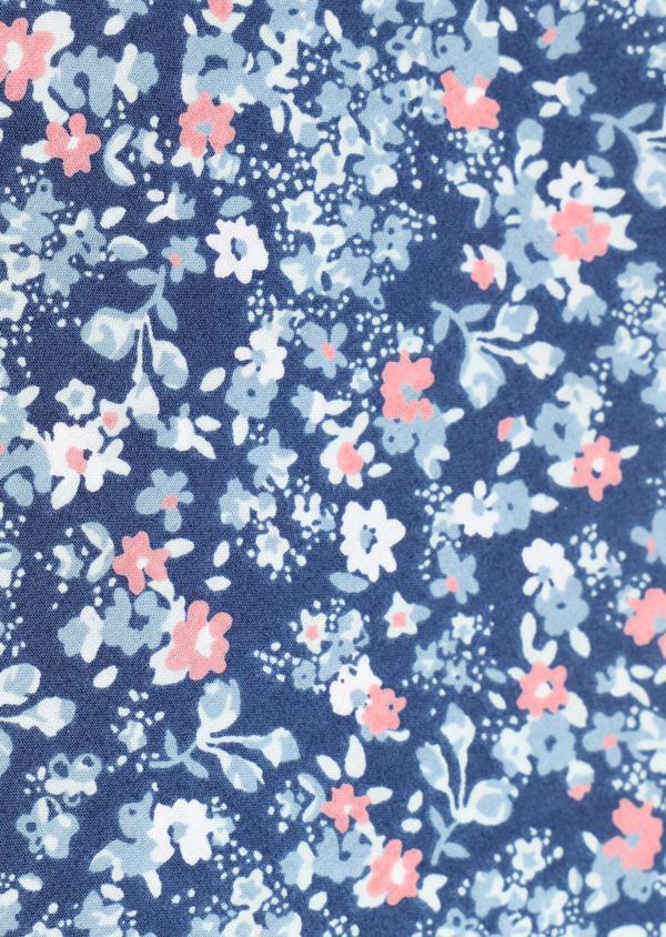 Pochette en coton bleu foncé à motif fleuri bleu et rose - Father and Sons 33356