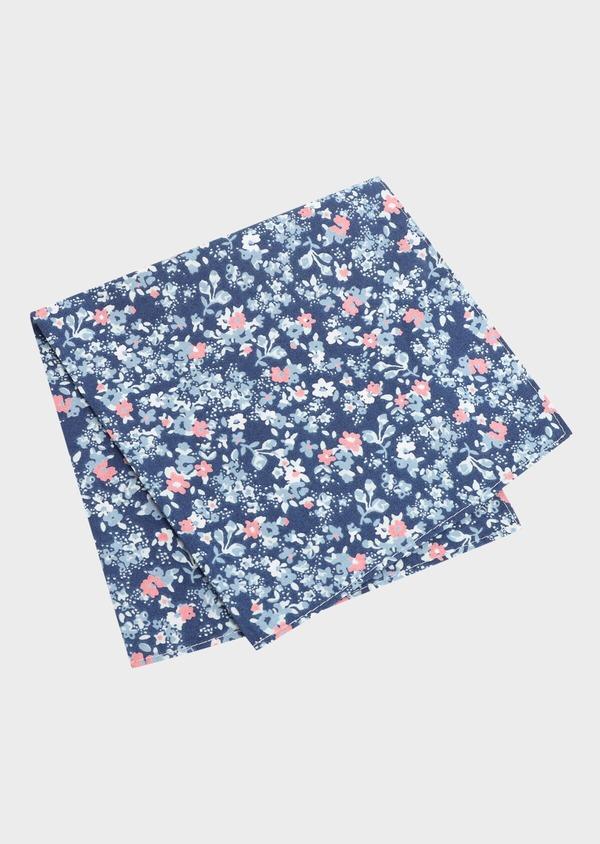 Pochette en coton bleu foncé à motif fleuri bleu et rose - Father and Sons 33355