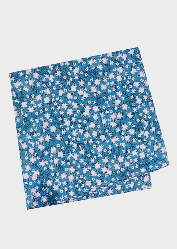 Pochette en coton bleu à motif fleuri rose pâle - Father and Sons 33347