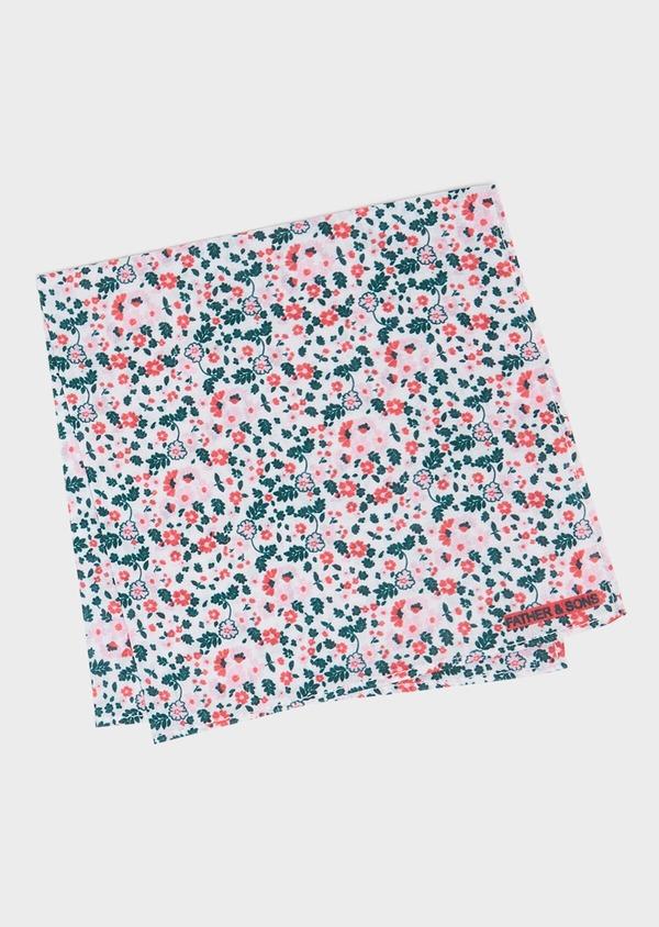Pochette en coton blanc à motif fleuri rose, vert foncé et rouge - Father and Sons 33379