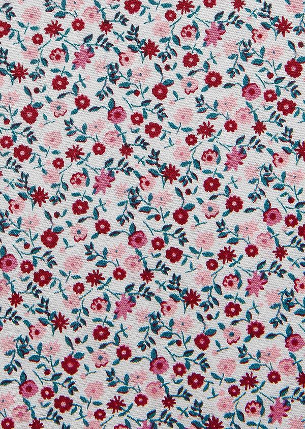 Pochette en coton gris clair à motif fleuri rose et rouge - Father and Sons 33360