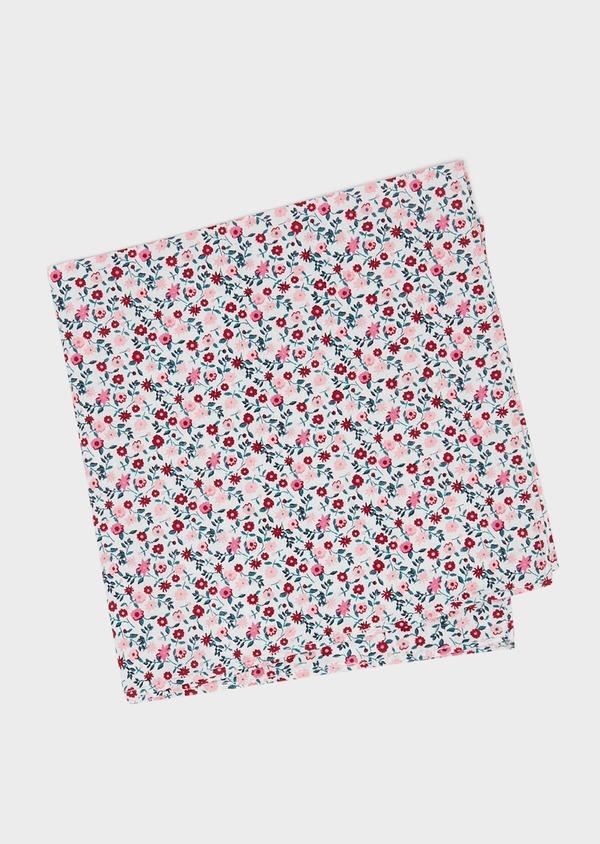 Pochette en coton gris clair à motif fleuri rose et rouge - Father and Sons 33359
