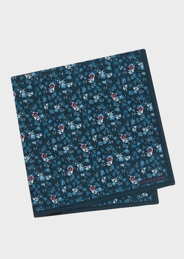 Pochette en coton bleu marine à motif fleuri rose et bleu - Father and Sons 33345