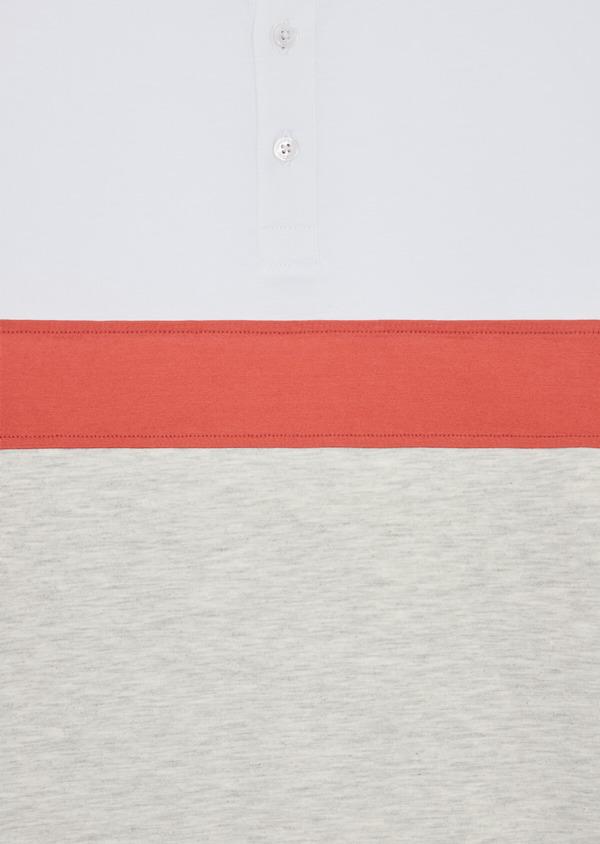 Polo manches courtes Slim en coton blanc, orange et beige - Father and Sons 38744