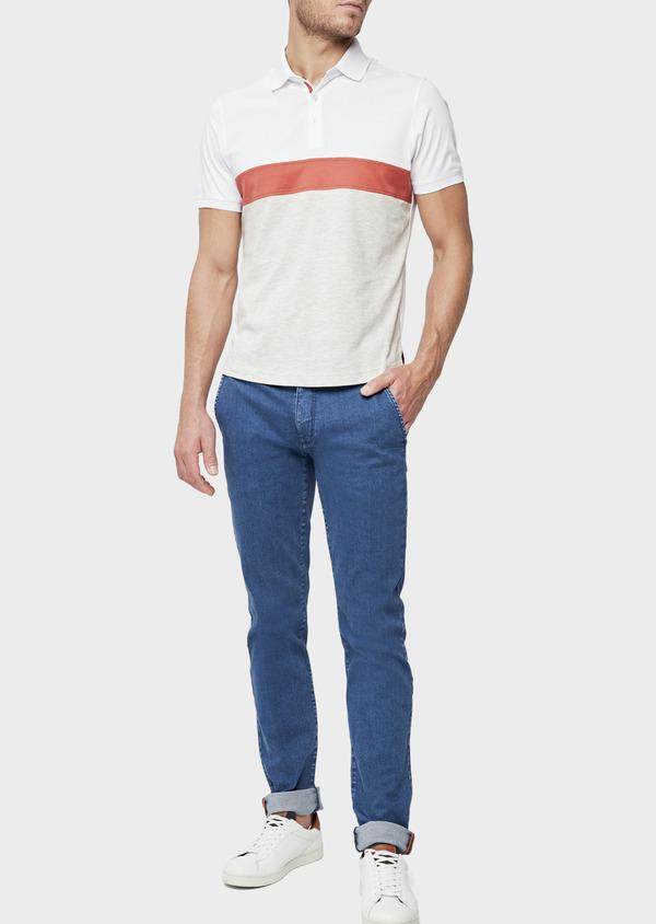 Polo manches courtes Slim en coton blanc, orange et beige - Father and Sons 38745