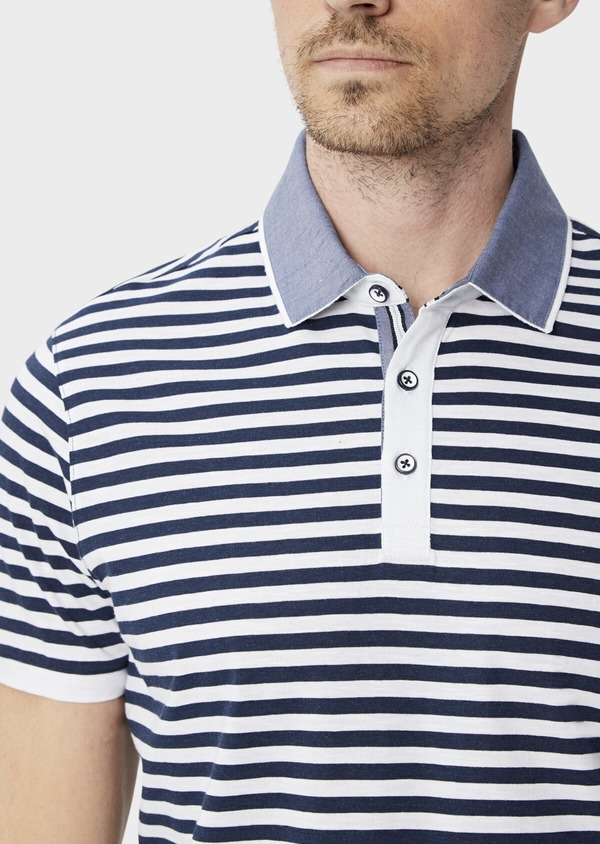 Polo manches courtes Slim en coton à rayures blanches et bleues - Father and Sons 39892