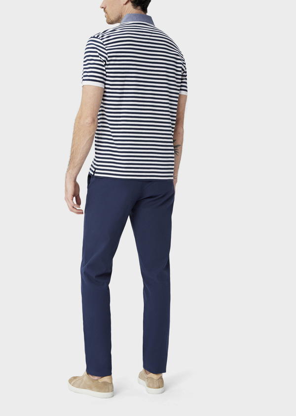 Polo manches courtes Slim en coton à rayures blanches et bleues - Father and Sons 39891