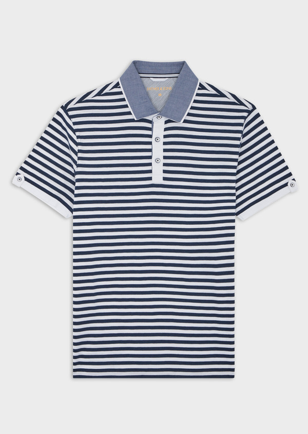 Polo manches courtes Slim en coton à rayures blanches et bleues - Father and Sons 39888