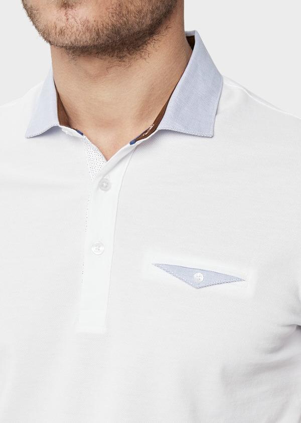 Polo manches courtes Slim en coton uni blanc - Father and Sons 38762