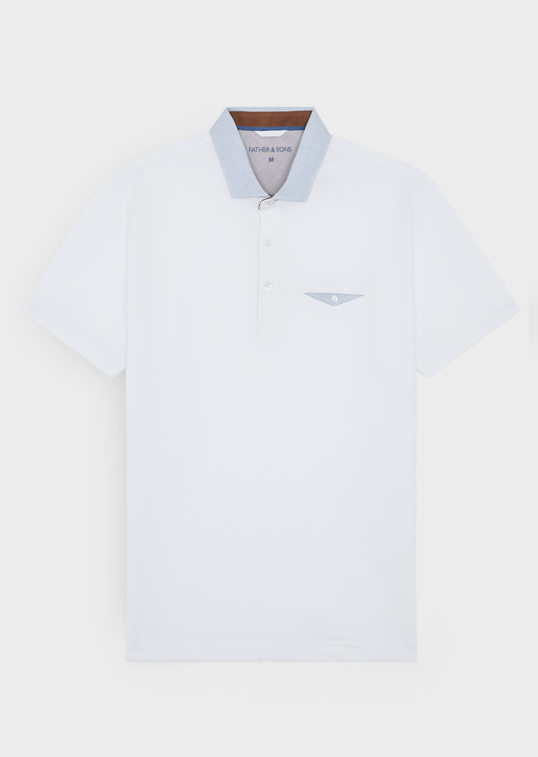 Polo manches courtes Slim en coton uni blanc - Father and Sons 38758
